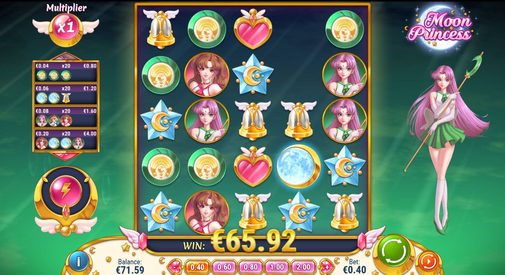tính năng game slot Moon Princess